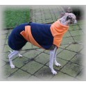 Blue - Orange winter dog coat (back length 63 cm)